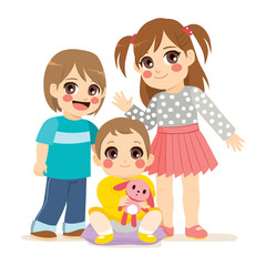 Illustration of siblings family with small baby middle brother boy and big sister