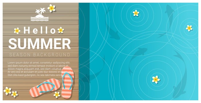 Hello summer background with sandals on wooden pier , vector , illustration