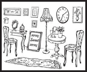 Sweet home. Vector illustration of vintage interior with chair, lamp, pictures, vase,  clock and table. Black line silhouette