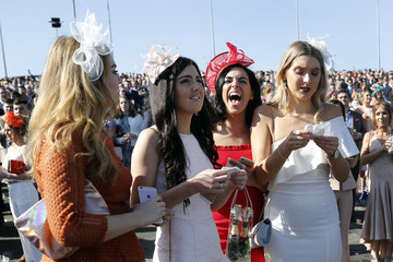 Racegoers during the Grand National Festival on ladies day