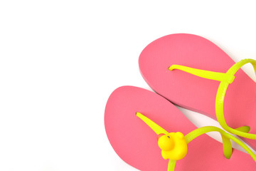 Top view of pink flip flops isolated on white background.