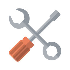 screwdriver and wrench repair tool icon image vector illustration design