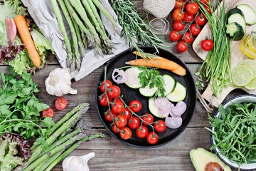 Vegetables and herbs.Seasonal table for vegetarian, clean eating and super food concept ingredients . Dinner table with cereals and vegetables variety.