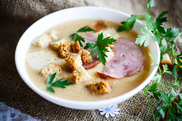 Vegetable soup puree with cheese, bacon