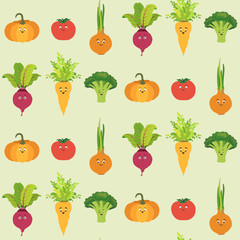 Vector seamless pattern with cartoon vegetable character. Cute tomato, pumpkin, beet, broccoli, onion and carrot