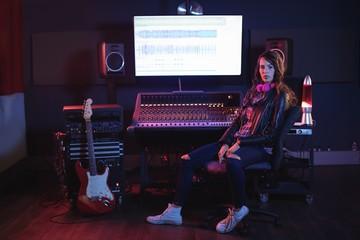 Portrait of female audio engineer