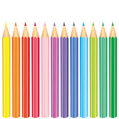 Set of multi-colored pencils. Vector illustration. Creativity and drawing. School and drawing lesson.