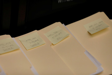 Copies of amendments offered during a marathon House Energy and Commerce Committee hearing on a potential replacement for the Affordable Care Act are seen on Capitol Hill
