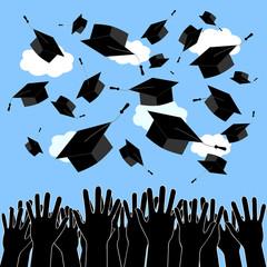 Graduate Hands Throwing Up Graduation Hats. Graduation Ceremony background