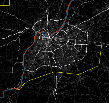Black and white map of Louisville. Kentucky Roads