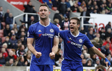 Chelsea's Gary Cahill celebrates scoring their second goal with Cesar Azpilicueta