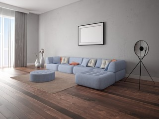 Mock up a spacious living room with a large corner sofa on the hipster background.