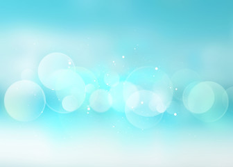 Blue blurred abstract bokeh summer resort background.