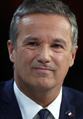 Nicolas Dupont-Aignan, Debout La France group candidate for the 2017 French presidential election, attends a meeting focused on healthcare and health insurance in Paris, France