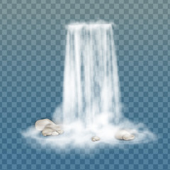 Realistic vector waterfall with clear water, stone and bubbles. Natural element for design landscape images. Isolated on transparent background.