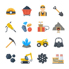 Mining and quarrying vector icons in flat style