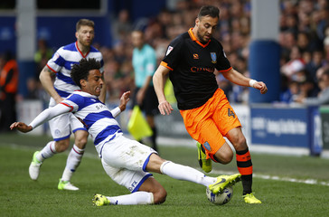 QPR's James Perch in action against Sheffield Wednesday's Atdhe Nuhiu