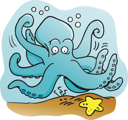 Cartoon illustration of an octopus.
