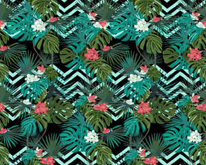 Exotic seamless pattern with tropical leaves and flowers on black background. Zigzag background. Vector botanical print.