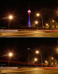 A combination photo shows a view of China Central Radio and Television Tower before (top) and during Earth Hour in Beijing