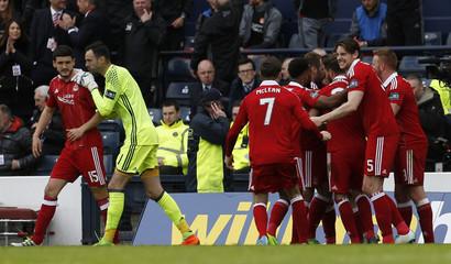 Aberdeen's Jonathan Hayes celebrates scoring their third goal with team mates