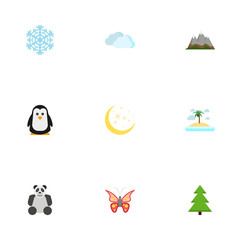 Flat Beauty Insect, Winter Snow, Landscape Vector Elements. Set Of Green Flat Symbols Also Includes Starts, Tree, Sky Objects.