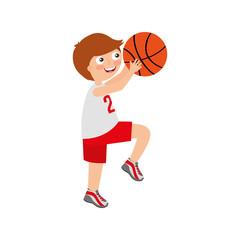 little boy playing basketball vector illustration design