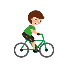 Little kid riding bicycle vector illustration design