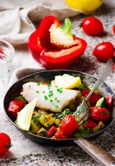Steamed fish  fillet  with Vegetables