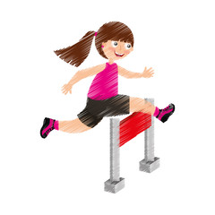 little girl in obstacle race vector illustration design