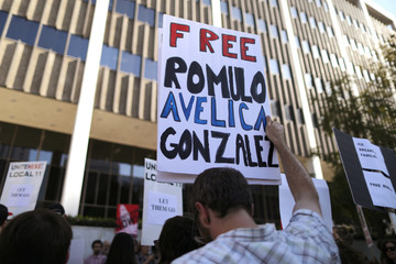 Supporters of Avelica protest outside the ICE Federal Building in Los Angeles