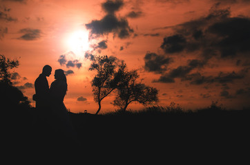 Couple at sunset is beautiful