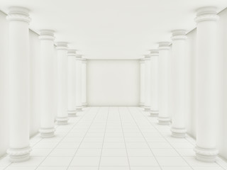 A series of white columns in the annular hall. 3d render