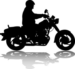 Fototapete - man riding classic vintage motorcycle silhouette - vector