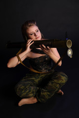 Girl mercenary with Russian RPG18 (Mukha) rocket launcher
