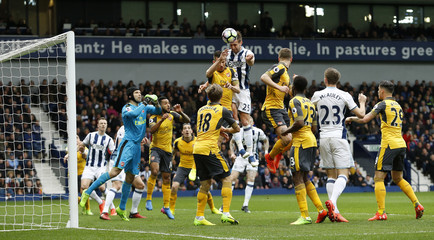 West Bromwich Albion's Craig Dawson scores their first goal