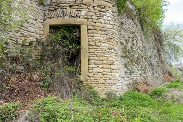 Enchanted door in a castle wall