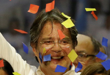 CREO party presidential candidate Guillermo Lasso attends a closing campaign rally in Guayaquil,