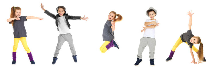 Cute funny girl dancing on white background