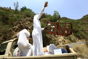 Man uses a makeshift aerial lift  to transport goods between Fifa Mountains, in Jazan