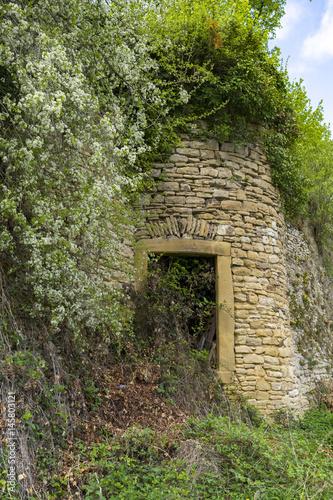 Enchanted door in a castle wall & Enchanted door in a castle wall\