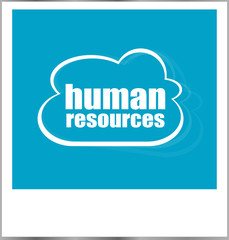 human resources word business concept, photo frame isolated on white