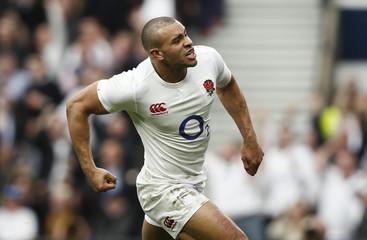 England's Jonathan Joseph celebrates scoring a try