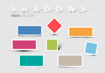 White-Bordered Shape Elements with Drop Shadow