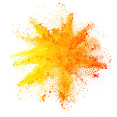 Fototapete - Explosion of colored powder on white background