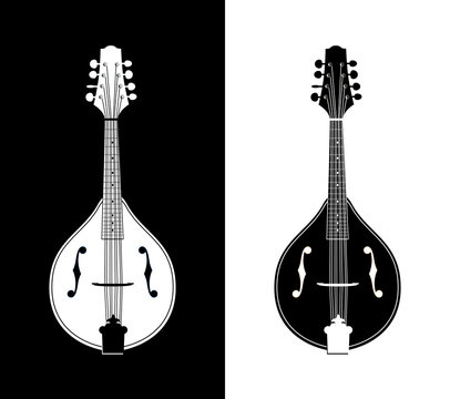 Flat Detailed Vector Illustration of Mandolins