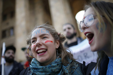 People attend rally to mark International Women's Day in Tbilisi