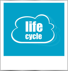 life cycle word business concept, photo frame isolated on white