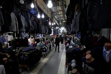 A man walks past a bazaar in Diyarbakir