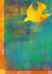 Holy Spirit, Pentecost or Confirmation symbol with a dove. Abstract modern religious digital illustration background